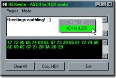 HEX to ASCII or back : HEXwriter